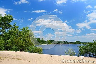 Het strand van het zand op rivier met groene bomen