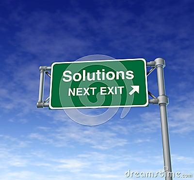 Het symbool van de de wegstraat van het Teken van de Uitgang van de Snelweg van oplossingen