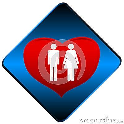 Het symbool van de man en van de vrouw