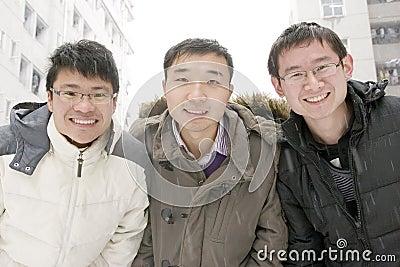 Het team van de school in sneeuw