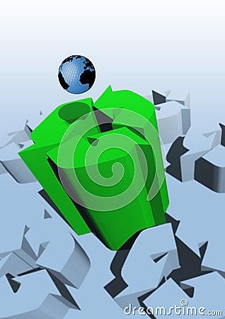 Het teken en de Aarde van het recycling