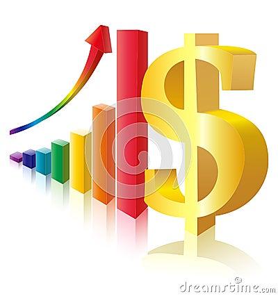 Het teken van het geld vóór veelkleurig staafdiagram