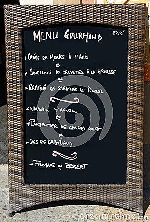 Het teken van het menu