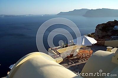 Het terras van de caldera - Santorini