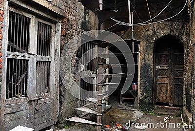 Het traditionele huis van oude kolkata Redactionele Stock Afbeelding