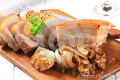 Het varkensvleesbuik van het braadstuk