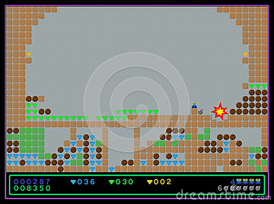 Het vectordiescherm van het oude spel van de stijlcomputer wordt geschoten