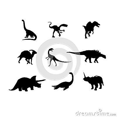 Het vectorsilhouet van dinosaurussen