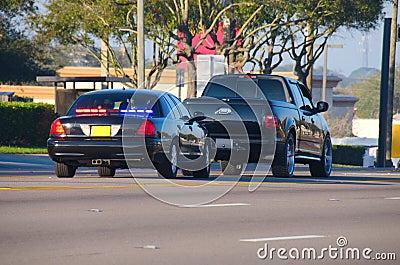 Het verkeerseinde van de politie