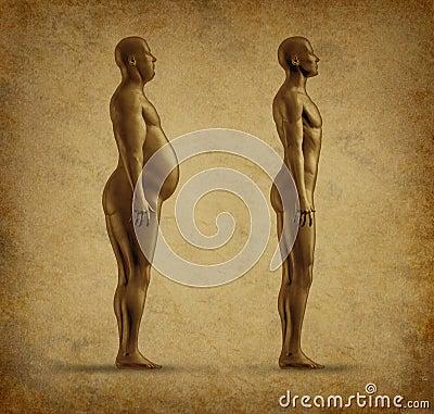 Het verlies van het gewicht vóór en na