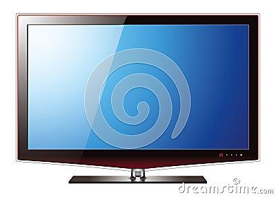 Het vlakke lcd scherm van tv realistische vectorillustratie stock foto afbeelding 25958560 - Meubilair tv industrie ...