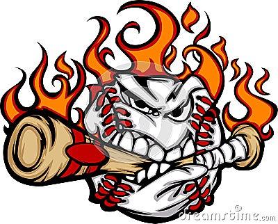 Het vlammende het Bijten van het Gezicht van de Bal van het Honkbal VectorBeeld van de Knuppel