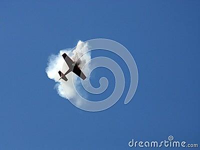 Het vliegtuig in de rook