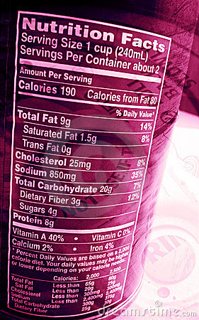 Het voedings etiket kan