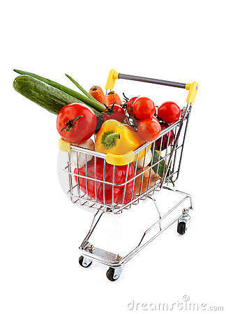 Het winkelen karretje en groenten