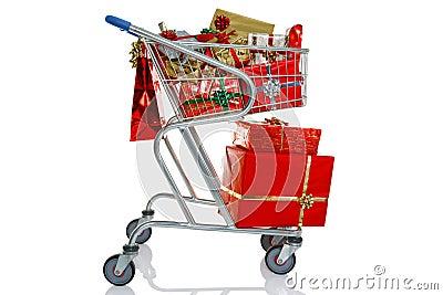 Het winkelen van Kerstmis karretje