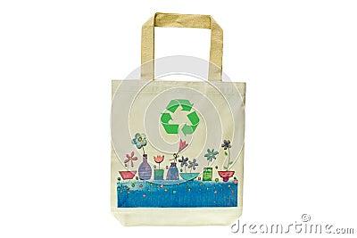Het winkelen zak die uit gerecycleerde materialen wordt gemaakt