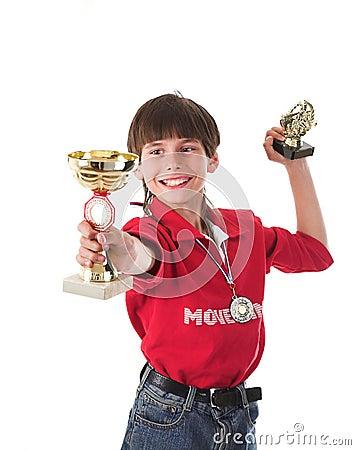 Jongen het winnen in de concurrentie