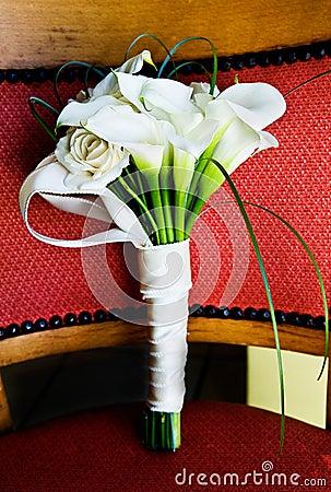 Het witte calla boeket van het leliehuwelijk