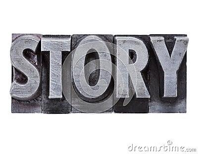 Het woord van het verhaal in metaaltype