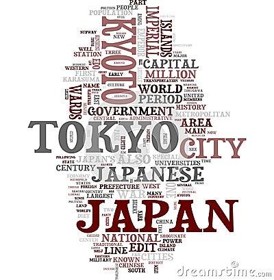 Het woordcollage van Japan