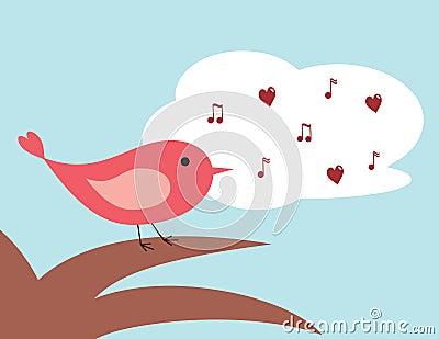 Het zingen van de vogel