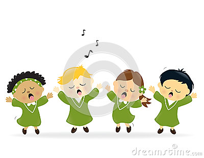 Het zingen van het koor lof