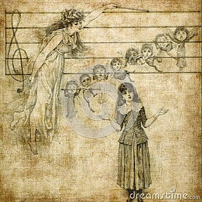 Het zingen van het meisje met engel