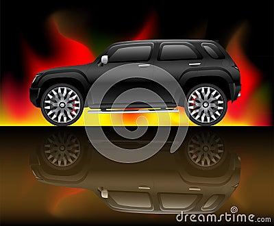 Het zwarte voertuig van het sportennut