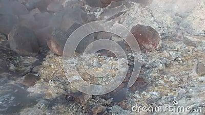 Hete geiser in berg op kust van Noordpool Oceaangroenland close-up stock footage