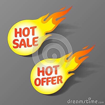 Hete verkoop en hete aanbiedingsmarkeringen