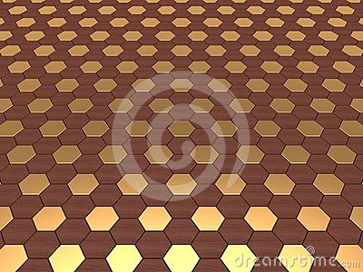 Hex Background in Wood & Gold