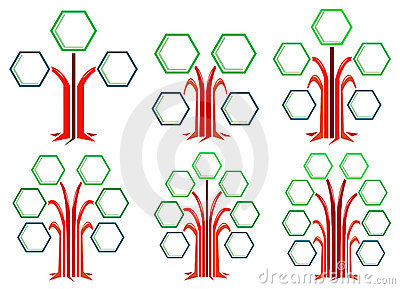 Hexagon frames tree designs
