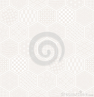 Hexagon seamless pattern with Japanese traditional design.
