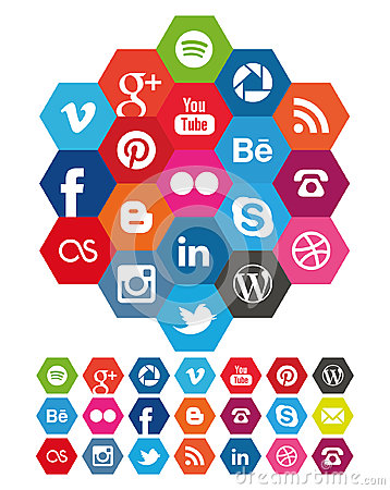 Free Hexagon Social Media Icons Stock Photos - 42386433