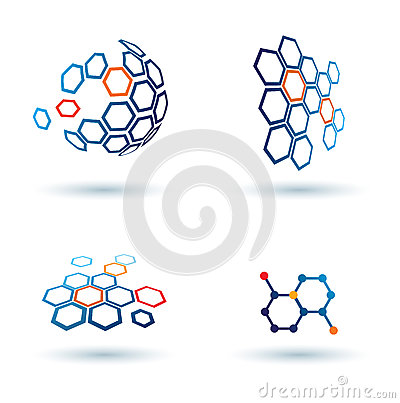 Free Hexagonal Abstract Icons, Business Concepts Stock Photography - 26528612