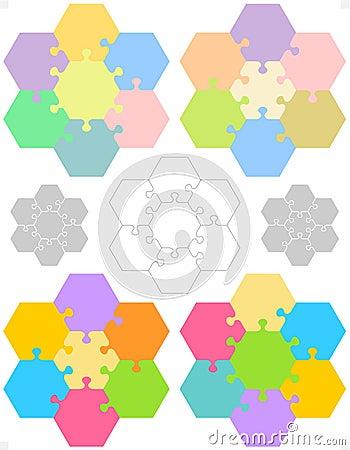 Hexagonal jigsaw puzzles
