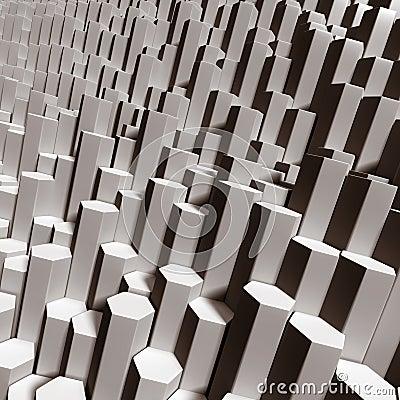 Hexagonal tubes close up as terrain