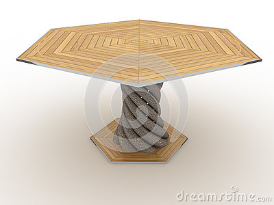 Hexagonal wooden table №3