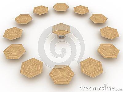 Hexagonal wooden table №4
