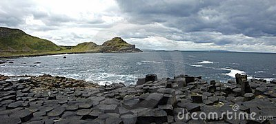 Hexagons in Giant s Causeway - panoramic view