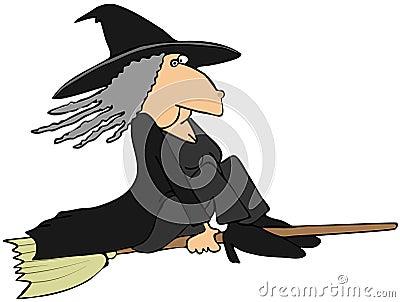 Hexe auf einem Besen