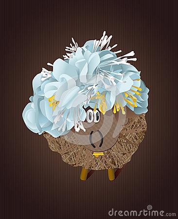 Hey sheep with blue flowers stock illustration image for How are blue roses made