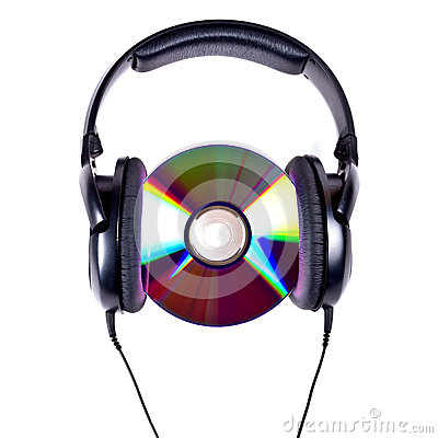 Hi-Fi headphones and CD disc