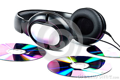 Hi-Fi headphones and CD discs