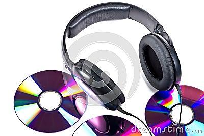 Hi-Fi headphones and CD discs