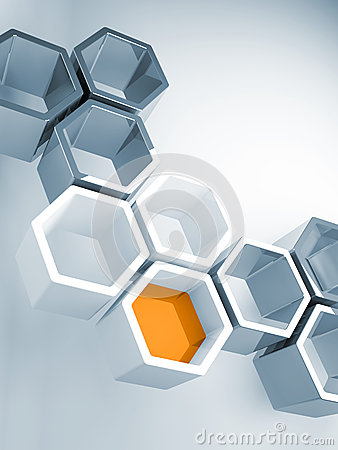 Hi-tech concept with honeycomb structure
