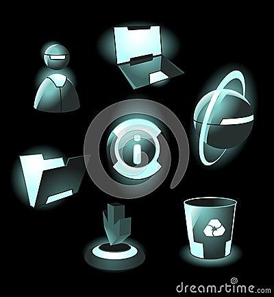 Hi-tech space icons