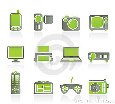 Hi tech technical equipment icons icon set