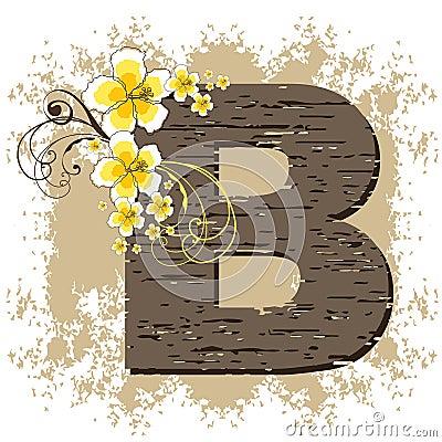 Hibiscus grunge vintage alphabet